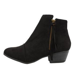 Black faux suede tassel fringe Low Heel ankle boot
